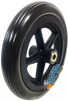 "CW147 - 8"" X 1 1/4"" 5 SPOKE BLACK URETHANE TIRE W/ 1 1/2"" HUB - ONE PAIR"