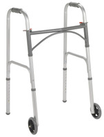 "Drive Folding Walker, Two Button with 5"" Wheels"