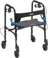 "Drive Clever-Lite Walker, Adult, with 5"" Casters with Seat and Loop Locks"
