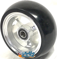 "CW502 3"" X 1 1/2"""" Aluminum 3 Spoke Wheel / Soft Urethane Tire with 5/16"" bearings. Sold as Pair"