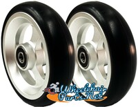 "CW503 4"" X 1"" Aluminum 3 Spoke Wheel / Soft Urethane Tire with 5/16"" bearings. Sold as Pair"