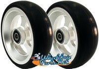 "CW504 4"" X 1 1/2"" Aluminum 3 Spoke wheel with Soft Urethane Tire. Comes with 5/16"" bearings. Sold as Pair"