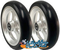 "CW505 5"" X 1"" Aluminum 3 Spoke Wheel / Soft Urethane Tire with 5/16"" bearings. Sold as Pair"