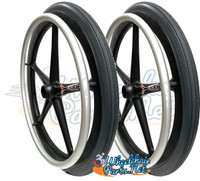 "20"" X 1 3/8"" X-CORE 5 SPOKE WHEEL WITH SOLID TIRE. SOLD AS PAIR"