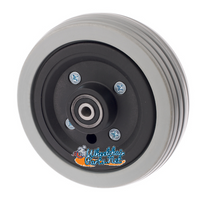 CW235B - 6x2 Caster Wheel, Black hub, Light grey tire w bearings & spacer. Sold as Pair