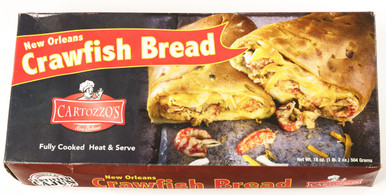 Frozen New Orleans crawfish bread loaf stuffed with seasoned crawfish tails and cheese.