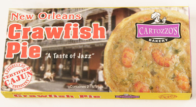 Two five-inch baked savory pies filled with seasoned crawfish tails (frozen).