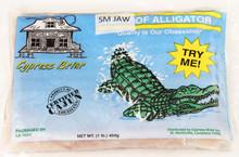 Frozen boneless alligator fillets.