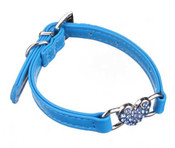 Blue Rhinestone Hearts Dog Collar