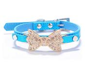 Blue Rhinestone Bow Dog Collar