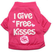 Pink I Give Free Kisses Dog T-Shirt