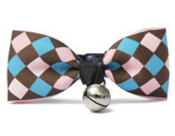 Brown Diamond Design Dog Bow Tie with Bell