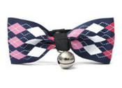 Blue Diamond Design Dog Bow Tie with Bell