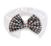 Brown and Blue Check Bow Tie White Dog Collar