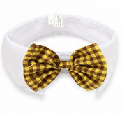 Brown and Yellow Check Bow Tie White Dog Collar