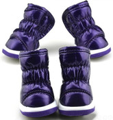 Purple Fleece Lined Dog Snow Boots