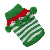 Green and White Stripe Knitted Christmas Elf Dog Jumper