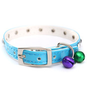 Blue PVC Rhinestones Bell Dog Collar