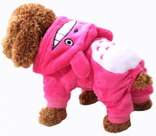 Pink Soft Fleece Animal Character Dog Onesie Pyjamas