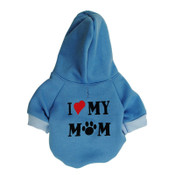 Blue I Love My Mom Dog Hoodie