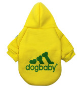 Yellow Dogbaby Bone Design Dog Hoodie