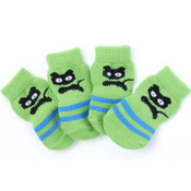 Green Black Cat Dog Socks