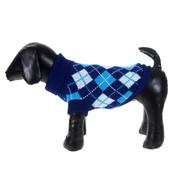Dark Blue Check Knitted Dog Jumper