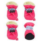 Pink Fleece Lined Waterproof Dog Boots
