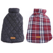 Red Tartan Reversible Dog Coat