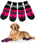 Large Pink Protective Dog Boots