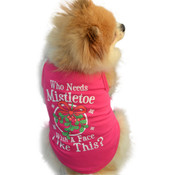 Pink Mistletoe Kiss Christmas Dog T-Shirt