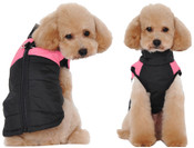 Black Pink Padded Dog Vest Coat