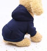 Navy Blue Plain Dog Hoodie