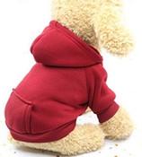 Wine Red Plain Dog Hoodie
