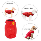 Red Black Reversible Dog Vest Coat