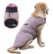 Red Plaid Black Reversible Dog Vest Coat