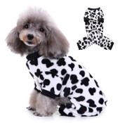 Black White Cow Print Dog Fleece Onesie Pyjamas