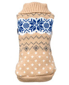 Beige Snowflake Knitted Dog Jumper