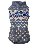 Grey Snowflake Knitted Dog Jumper