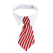 Red White Striped Tie Dog Shirt Collar