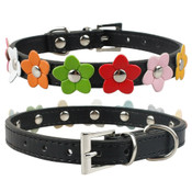 Black PU Leather Flower Dog Collar