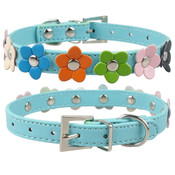 Blue PU Leather Flower Dog Collar