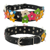 Black PU Leather Flower Wide Dog Collar