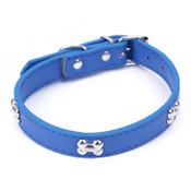 Blue PU Leather Bone Dog Collar