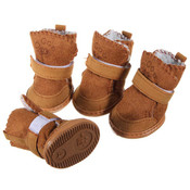 Brown Suede Dog Winter Boots
