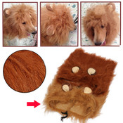 Light Brown Lion Mane Dog Wig with Ears