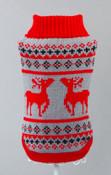 Red Reindeer Design Knitted Dog Jumper