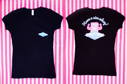 Pick & Mix - V-Neck Tee - Black. Front and Back