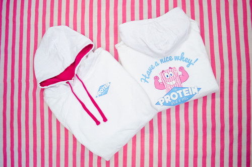 Protein Pick & Mix - Unisex - White Varsity Hoodie Back/Front