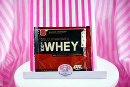 Optimum Nutrition 100% Whey Gold Standard sachet. Delicious Strawberry.